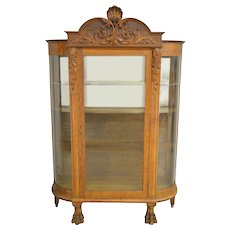 Oak Carved Curve Glass China Closet with Big Claw Feet