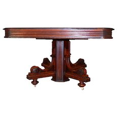 Burl Victorian Banquet Table with Leaves