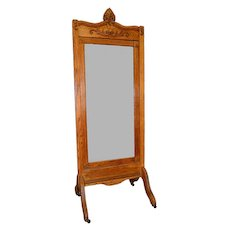 Oak Antique Cheval Ladies Dressing Mirror