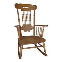Oak Pressback Rocking Chair by Larkin
