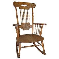 Oak Pressback Rocking Chair by Larkin