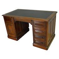 Victorian Walnut Raised Panel Flat Top Desk