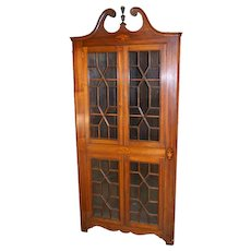 Mahogany Inlaid Corner China Cabinet