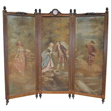 Victorian Triple Section Folding Bird's Eye Maple Dressing Screen / Room Divider