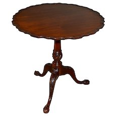 Custom Chippendale Bird Cage Tilt Top Carved Table