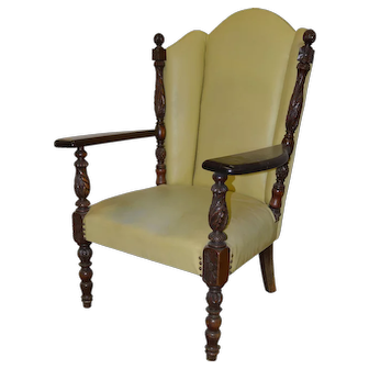 Acanthus Carved Mahogany Arm Chair Fan Back