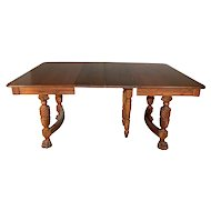 Victorian Walnut Claw Foot Dining Table w/ 2 Leaves