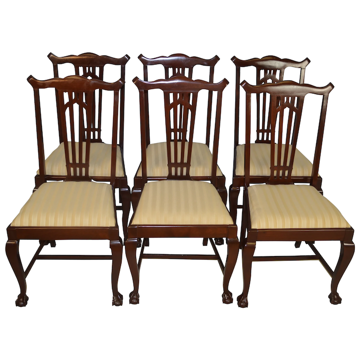 Set Of 6 Mahogany Ball And Claw Dining Chairs Maine Antique Furniture Ruby Lane