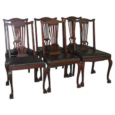Set of 6 Victorian Claw Foot Mahogany Formal Dining Chairs