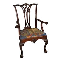 Mahogany Chippendale Centennial Carved Arm Chair w/ Great Needlepoint