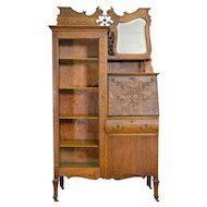 Oak Bookcase Slant Top Secretary Desk with bevel Mirror