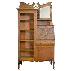 Oak Bookcase Slant Top Secretary Desk with bevel Mirror