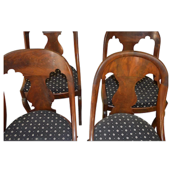 Set of 4 Flame Mahogany Period Empire Chairs