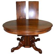 Victorian Round Walnut Banquet Dining Table