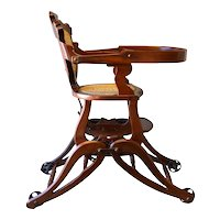 Victorian Children's Walnut Up & Down High Chair - Civil War Era