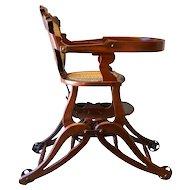 Victorian Children's Walnut Up & Down High Chair - Civil War Era