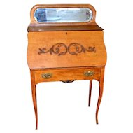 Oak Ladies Slant Top Desk with Mirror by Larkin