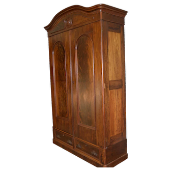 Victorian Mahogany and Flame Mahogany Armoire Wardrobe – Civil War Era