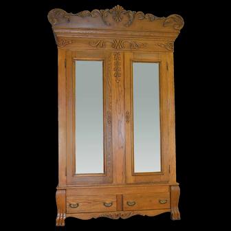 Oak Carved Bevel Glass Mirror American Wardrobe