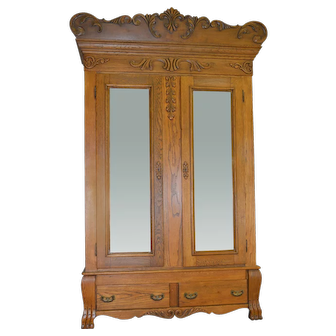 Oak Carved Bevel Glass Mirror American Wardrobe