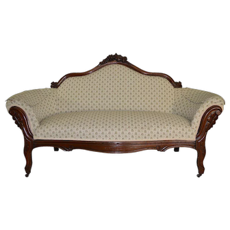 Victorian Grape Back Carved Sofa – Civil War Era