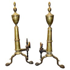 17273 Pair of Brass Chippendale Andirons