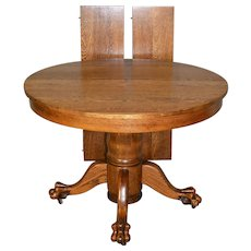 """Victorian Oak Claw Foot Dining Table 42"""" Fully Refinished"""