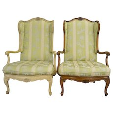Pair of French Provincial Carved Wingback Arm Chairs