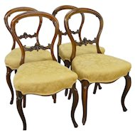 Set of 4 Rosewood Carved Victorian Chairs