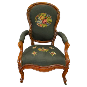 Victorian Gentlemen's Carved Arm Chair with Needlepoint Seat & Back