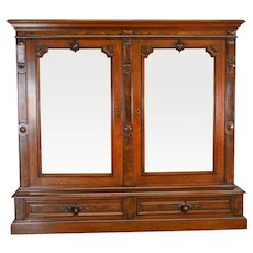 Victorian Step Back Burl Walnut Bookcase - Civil War