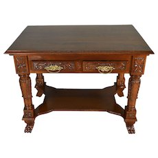 Carved Victorian Walnut Writing Desk Library Table