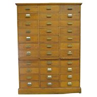 Oak 33 Drawer File Cabinet