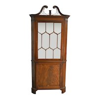 Flame Mahogany Custom Corner China Cabinet