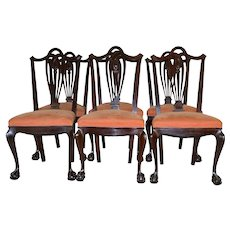 Set of 6 Mahogany Carved Ball and Claw Chairs by Horner