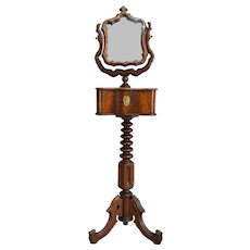 Rare Empire Victorian Gentleman's Shaving Stand with Mirror