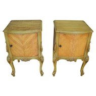 Pair of Satinwood French Victorian Carved Nightstands