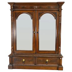Victorian Walnut Step Back Two Door Bookcase – Civil War