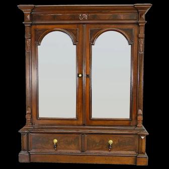 Victorian Walnut Step Back Two Door Bookcase – Civil War