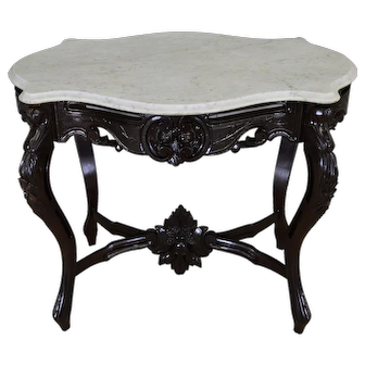 Victorian Marble Top Turtle Top Carved Table