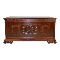 Carved with Cupid Victorian Blanket Box in Mahogany