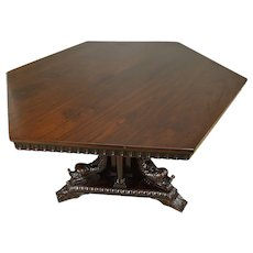 Carved Dolphin Headed Six Sided Dining Table – Fantastic
