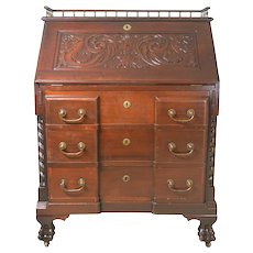 Victorian Custom Carved Slant Top Desk