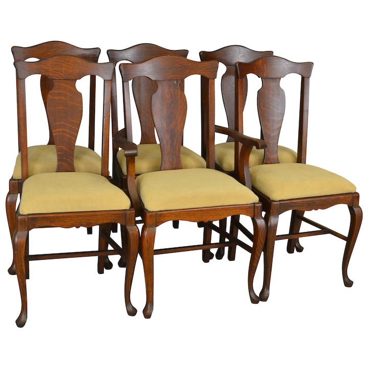 Outstanding Set Of 6 Oak Formal Queen Anne Dining Chairs Dailytribune Chair Design For Home Dailytribuneorg