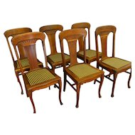 Set of 6 Oak Carved Dining Chairs
