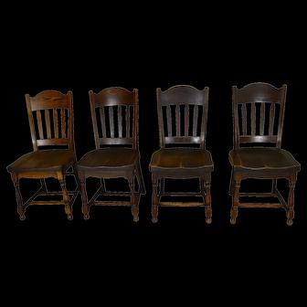Set of 4 Oak Stylish Stout Dining Chairs