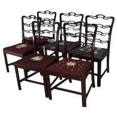 Set of 6 Mahogany Chippendale Ribbon Back Chairs