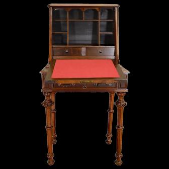 Victorian Dainty Ladies Carved Slant Top Desk
