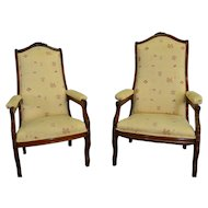 Pair of Victorian Grape Carved Lady and Gent's Chairs