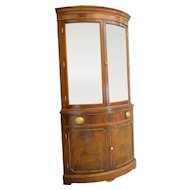 Mahogany Curved Glass Corner China Cabinet